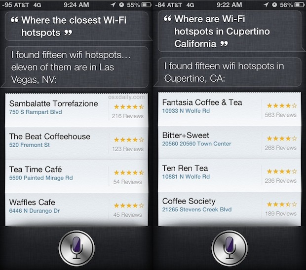 Use Siri to find hotspot