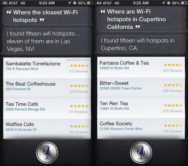 Use Siri to find hotspot