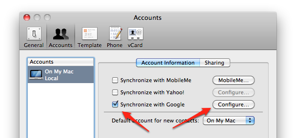 Sync Mac Address book with Google